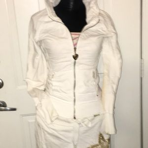 Twisted Heart white and gold star hoodie and pants